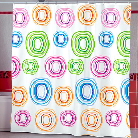 Штора для ванной Miranda Colorol Circle 12073 белый 180х200 см, Турция