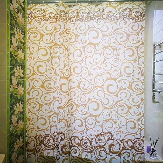Штора для ванной Miranda Motives 2161 бежевый 180х200 см, Турция