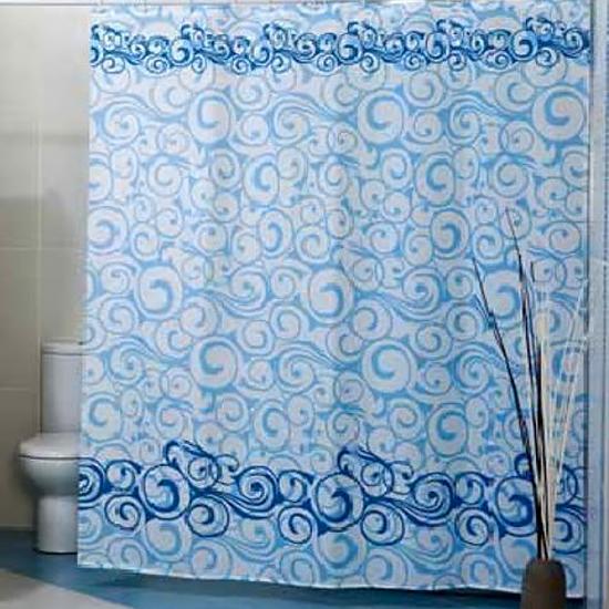 Штора для ванной Miranda Motives 2161 голубой 180х200 см, Турция