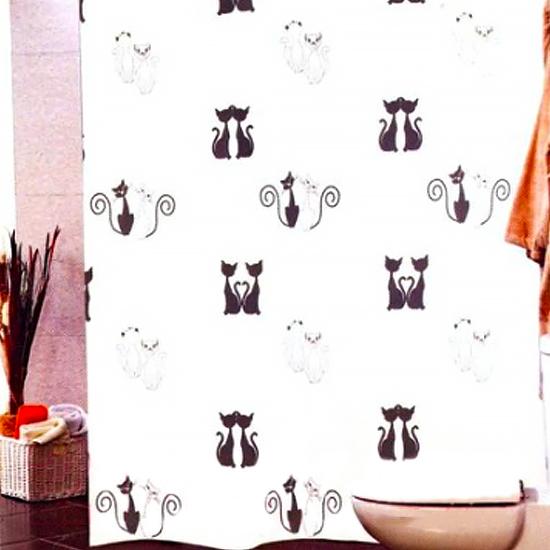 Штора для ванной Miranda Black Cats G -2813 белый 180х200 см, Турция