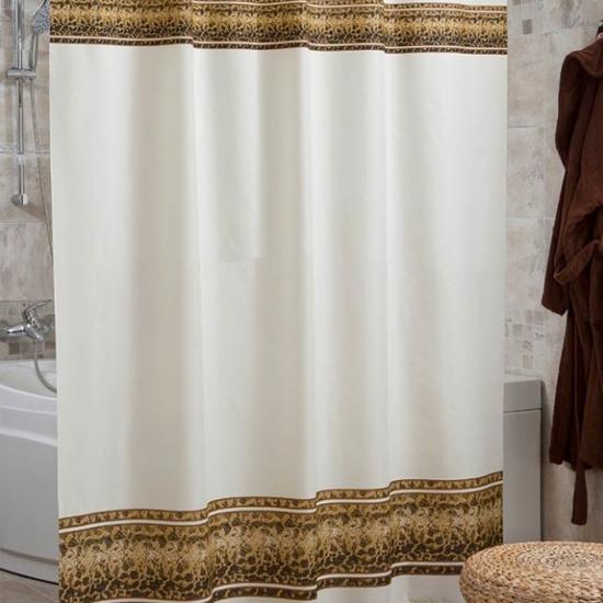 Штора для ванной Miranda Sahmaran 4090 бежевый 180х200 см, Турция