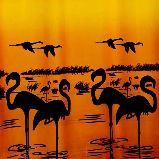 Штора для ванной Miranda Flamingo 4101 оранжевый 180х200 см, Турция