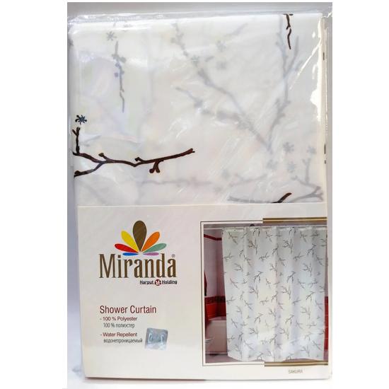 Штора для ванной Miranda Sakura L-4234 коричневый 180х200 см, Турция