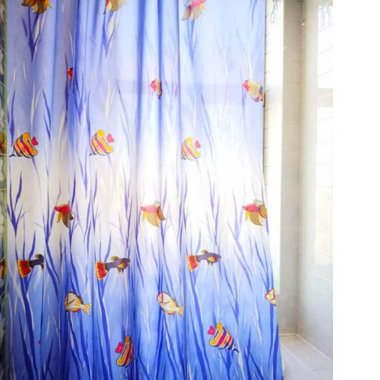 Штора для ванной Miranda Fish 5038 голубой 180х200 см, Турция