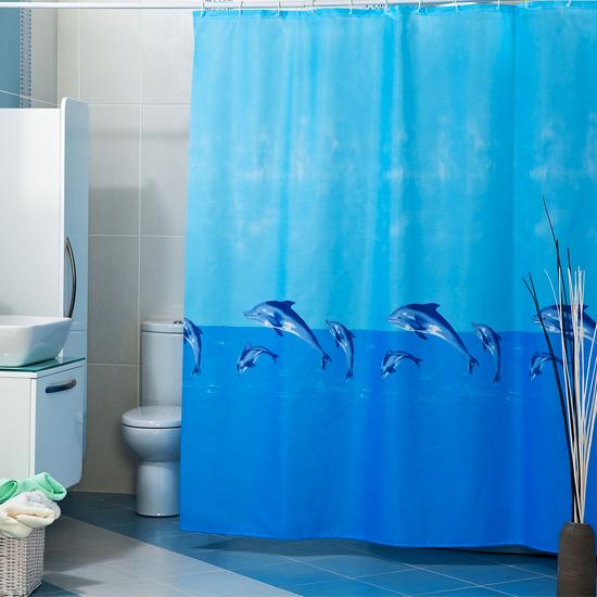 Штора для ванной Miranda Whale 6031 голубой 180х200 см, Турция