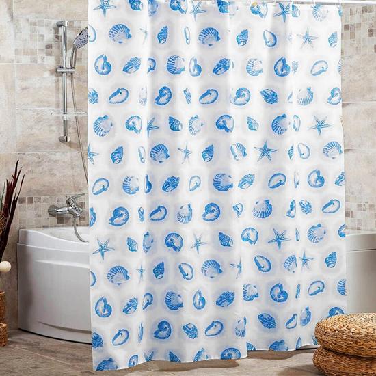 Штора для ванной Miranda Star Fish 6042 голубой 180х200 см, Турция