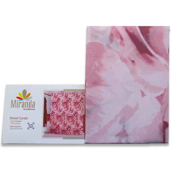 Штора для ванной Miranda Roses L-6049 розовый 180х200 см, Турция