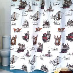 Штора для ванной Miranda Istanbul L-6315 коричневый 180х200 см, Турция