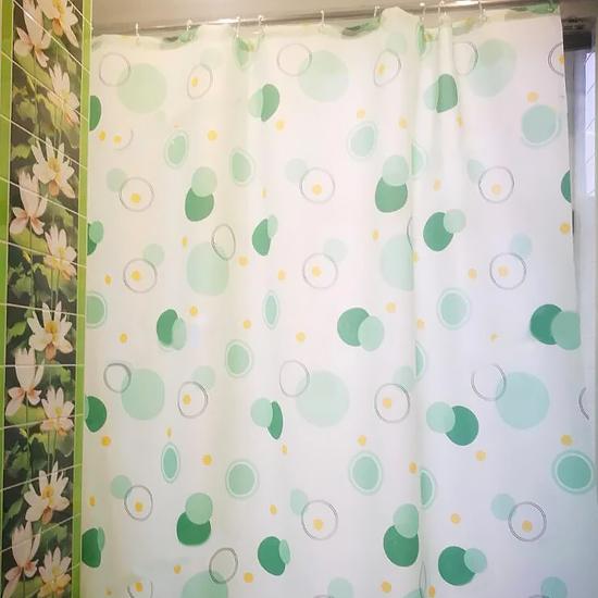 Штора для ванной Miranda Circle 7063 зеленый 180х200 см, Турция