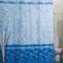 Штора для ванной Miranda Mermer Su 7103 голубой 180х200 см, Турция