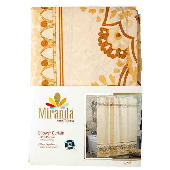 Штора для ванной Miranda Leopard 8024 розовый 180х200 см, Турция