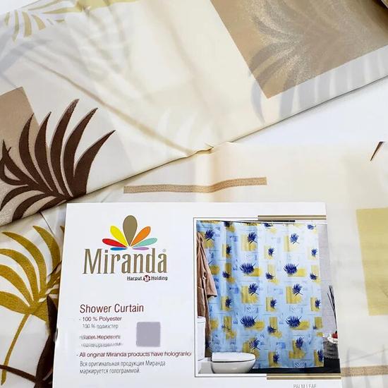 Штора для ванной Miranda Palm Leaf 8071 бежевый 180х200 см, Турция