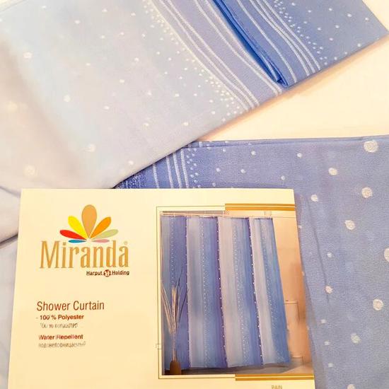 Штора для ванной Miranda Rain 9110 голубой 180х200 см, Туреччина