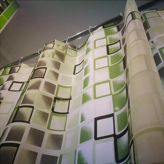 Штора для ванной Miranda Kare 9123 зеленый 180х200 см, Турция