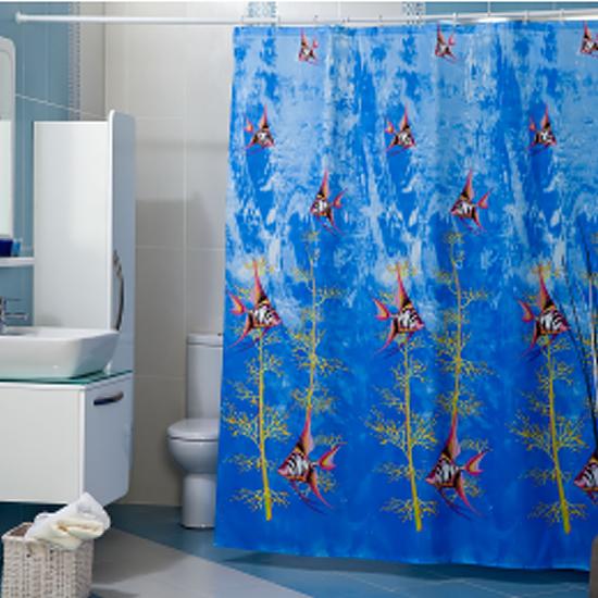 Штора для ванной Miranda Atlantis синий 180х200 см, Турция