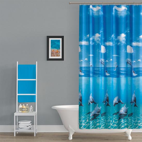 Штора для ванной Miranda Black Dolphin 10083 голубой 180х200 см, Турция