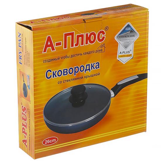 Сковорода с антипригарным покрытием A + 102/1103  26 см со стеклянной крышкой