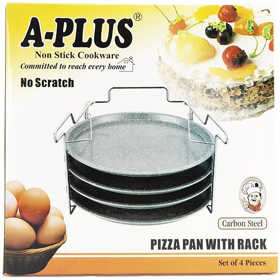 Противень А + 1150  антипригарное  покрытие для пиццы из 3шт. с подставкой