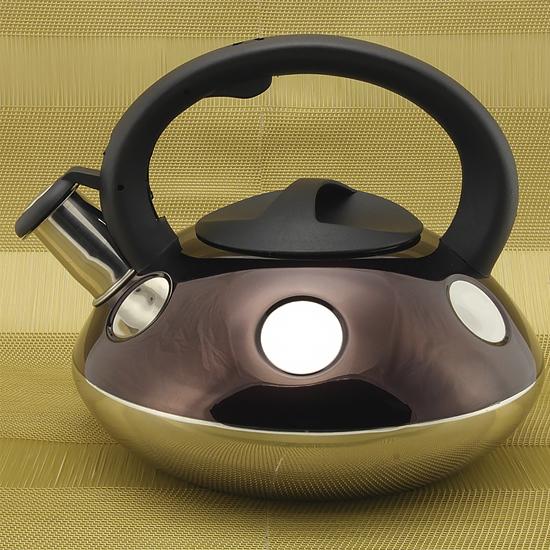 Чайник А + 1374  2,6 л нержавеющая сталь цветной в горошек Алладин