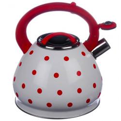 Чайник А + 1390  3 л нержавеющая сталь красный в горошек