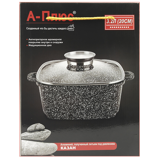 Сковорода с антипригарным покрытием A + 1472  24 см со стеклянной крышкой