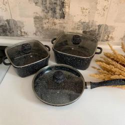 Кастрюли А + 1505  3шт мраморные квадратные с сковородой
