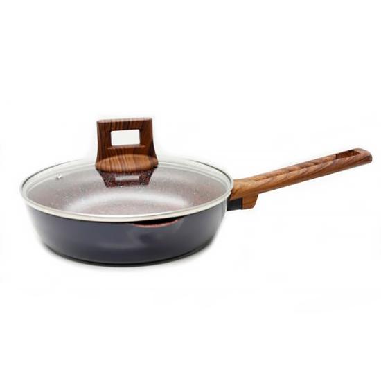 Сковорода мраморная A + 1743 26 см с носиком и крышкой