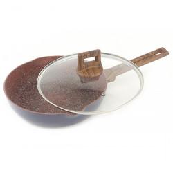 Сковорода мраморная A + 1742  24 см с носиком и крышкой