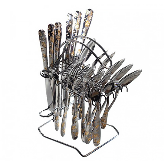 Набор столовых принадлежностей A+ 1447  24 предмета позолоченный