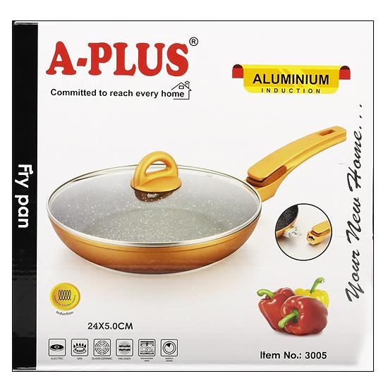 Сковорода мраморная A + 3005 24 см с крышкой и съемной ручкой