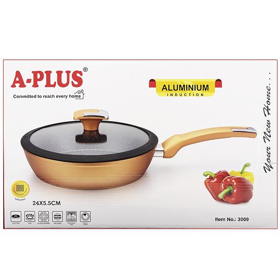 Сковорода мраморная A + 3009  24 см силиконовая глубокая крышка