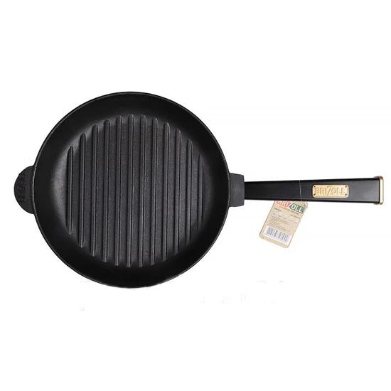 Сковородка Brizoll чугунная О 2440 РГ - Р 24 см черная ручка