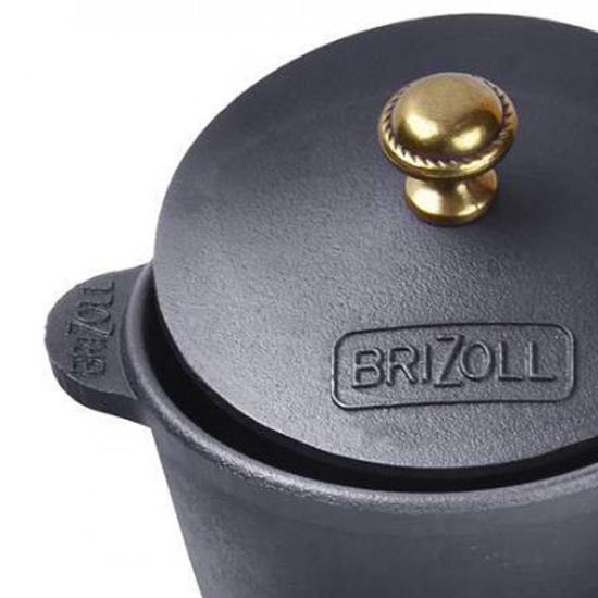 Кастрюля Brizoll чугунная H 03 0.3 л с деревянной подставкой