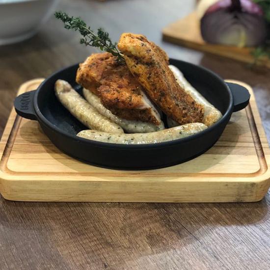 Сковородка Brizoll чугунная порционная Н 1625-Д с подставкой 16х25 см