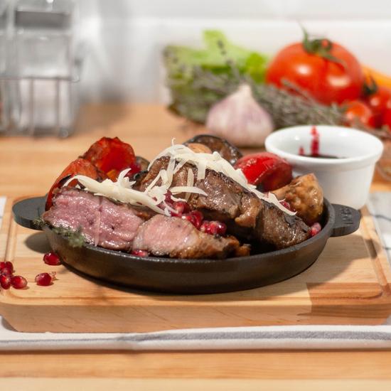 Сковородка Brizoll чугунная порционная Н 1825-Д с подставкой 18х25 см