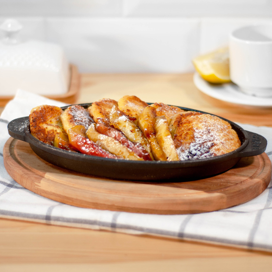 Сковородка Brizoll чугунная овальная с подставкой  Н2214  220х140х25 мм