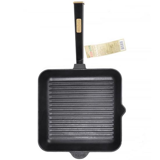 Сковородка Brizoll чугунная для гриля О 282850Г- Р1 28 см черная ручка квадратная