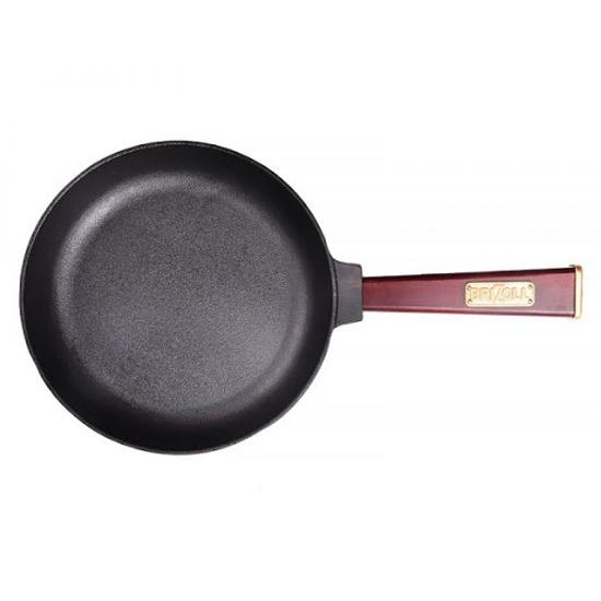 Сковородка Brizoll чугунная К 2640- Р 26 см бордовая ручка