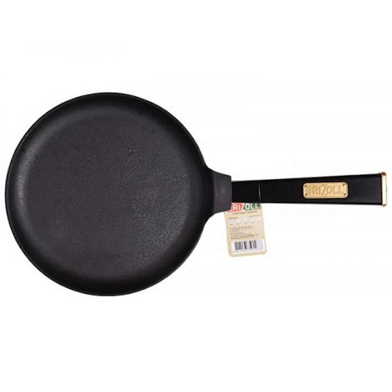 Сковородка Brizoll чугунная для блинов O 2415 - Р 24 см черная ручка