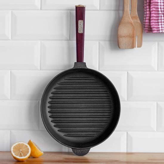 Сковородка Brizoll чугунная для гриля К 2440 РГ 24 см бордовая ручка