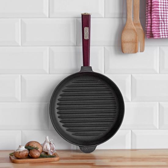 Сковородка Brizoll чугунная для гриля К 2640 РГ 26 см бордовая ручка