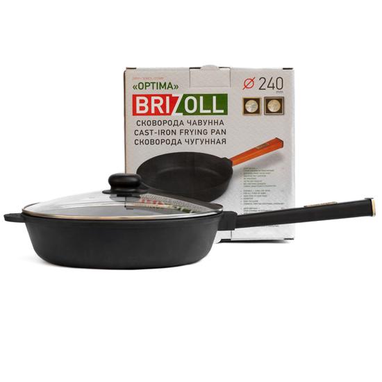 Сковородка Brizoll чугунная О 2460 - Р 24 см черная ручка