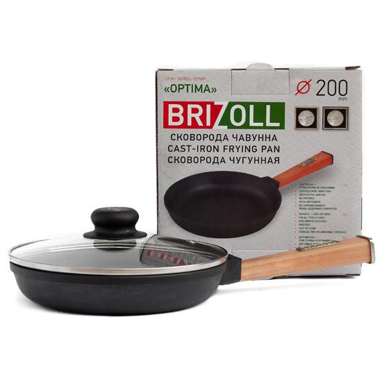 Сковородка Brizoll чугунная О 2035 - Р 20 см светлая ручка