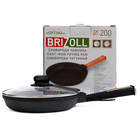 Сковородка Brizoll чугунная О 2035 - Р 20 см черная ручка