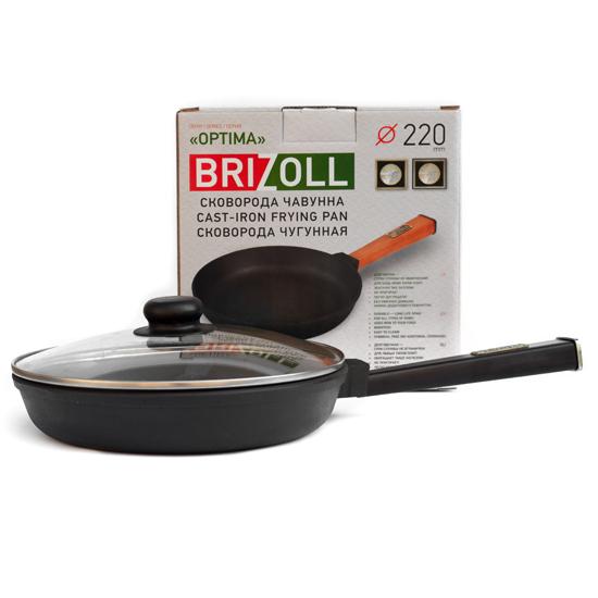 Сковородка Brizoll чугунная О 2240 - Р 22 см черная ручка