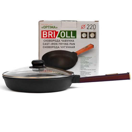 Сковородка Brizoll чугунная О 2240 - Р 22 см бордовая ручка