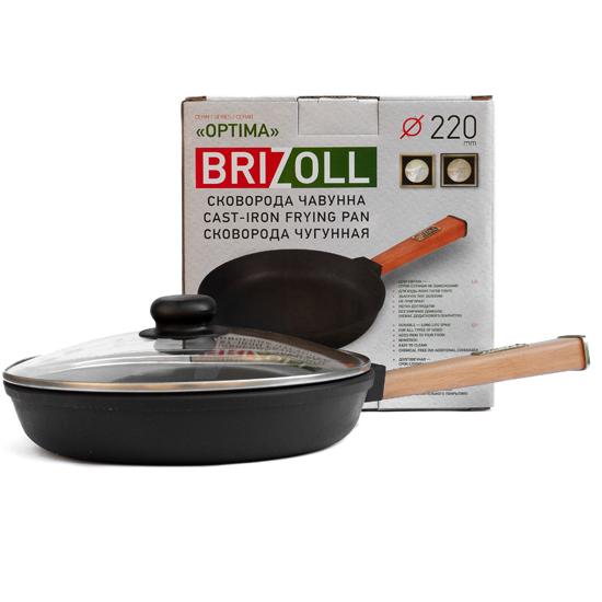 Сковородка Brizoll чугунная О 2240 - Р 22 см светлая ручка