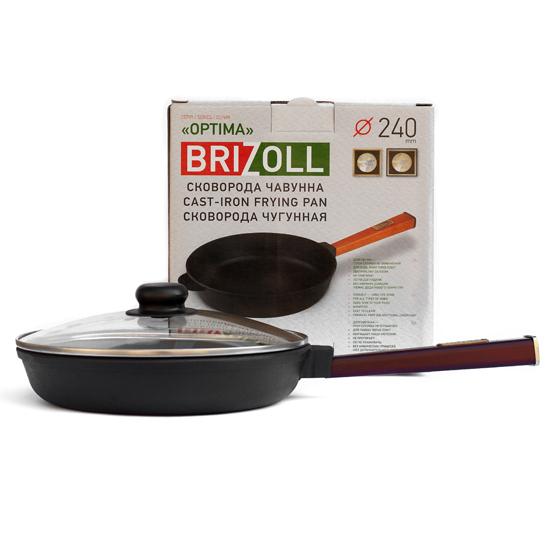 Сковородка Brizoll чугунная О 2440 - Р 24 см бордовая ручка