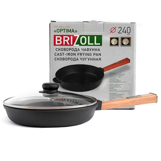 Сковородка Brizoll чугунная О 2440 - Р 24 см светлая ручка