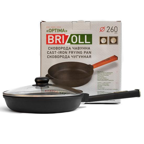 Сковородка Brizoll чугунная О 2640 - Р 26 см черная ручка